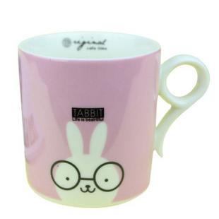 昭乐 九字型杯 无盖儿童卡通动物陶瓷杯子/时尚可爱水杯/家庭套装马克杯 小兔子