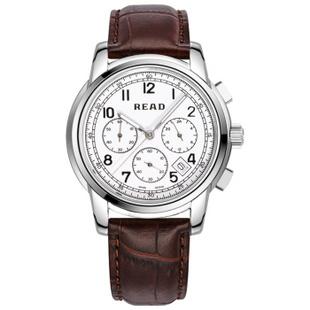 锐力(READ)手表 达芬奇系列石英男表R7001G 白面数字棕带