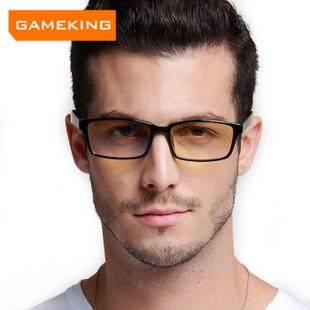 Gameking全框防蓝光防辐射眼镜男款大框平光电脑护目镜 尊龙 黑色