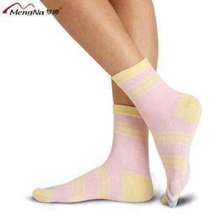 梦娜女袜 女士袜子5双 五指袜 中筒五指袜混色5双 22-24cm