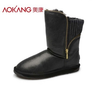 奥康雪地靴133522161 黑色 35