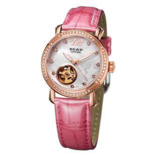 锐力(READ)手表 普罗旺斯系列自动机械表时尚女表R8035L 玫瑰金粉皮
