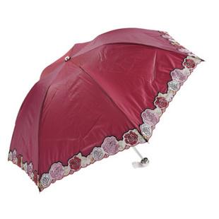 太阳城/sun city 正品 三折折叠外翻手开超轻冷霜绸 防晒伞 太阳伞 红色