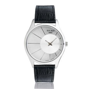 锐力(READ)手表偏心系列时尚超薄情侣表进口机芯石英表简约大气 R6007G 白面银框黑带男表