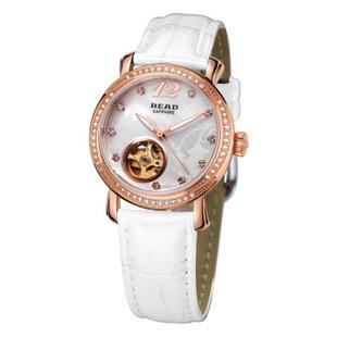锐力(READ)手表 普罗旺斯系列自动机械表时尚女表R8035L 玫瑰金白皮