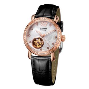 锐力(READ)手表 普罗旺斯系列自动机械表时尚女表R8035L 玫瑰金黑皮