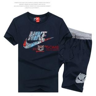 NIKE夏季运动服 耐克短袖套装彩色跑步服 2083(深蓝 3XL)