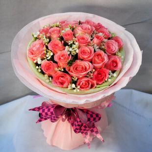 缘梦鲜花速递19朵粉玫瑰花北京海淀东城西城朝阳市区全国送花上门 19枝粉玫瑰 平时配送