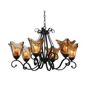 锦上手工玻璃罩北欧地中海客厅吊灯美式乡村吊灯欧式卧室灯具2301-6g图片