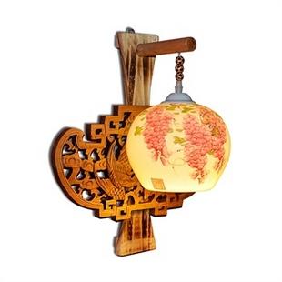楚之林 实木雕刻凤凰一级薄胎陶瓷灯具手绘紫藤壁灯凤鸣紫藤春浓圆球图片
