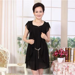中年女士�9b�9/$ze�g�_阿黛丝 2013新款中老年女装夏装连衣裙妈妈装假两件裙子中年女士