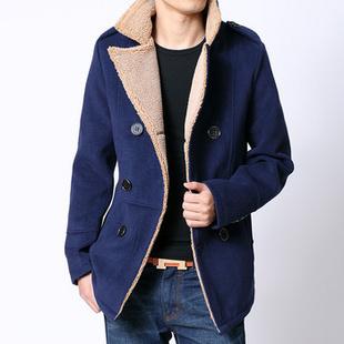冬季外套 2013冬季男士加绒外套韩版时尚休闲修身双排扣短风衣男 衣服