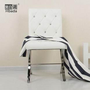 黑白调接待椅子休闲时尚白色沙发椅餐椅子不带扶手特价包邮图片