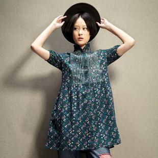 设计师品牌女装森宿 再回首 2013秋装新款 复古碎花打底文艺范 连衣裙图片