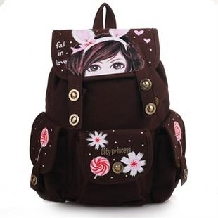 城市公主 双肩背包女韩版学生书包旅行潮帆布包yc-cx010图片