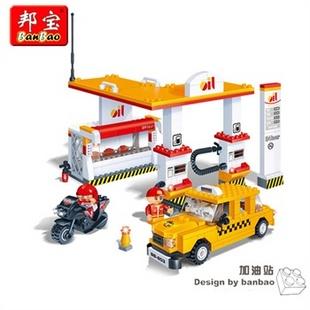 邦宝颗粒拼插小工业积木益智玩具积木拼插加油站8776乐高式搭建日本东方情景娃娃图片