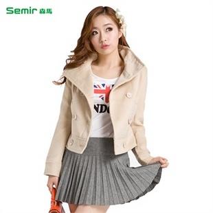 森马semir2013秋装新款女装便服净色立领通勤短外套原价299元图片