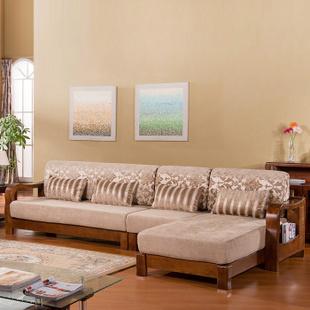 岭林k822 全实木沙发组合 中式客厅家具 白蜡木沙发 实木布艺沙发