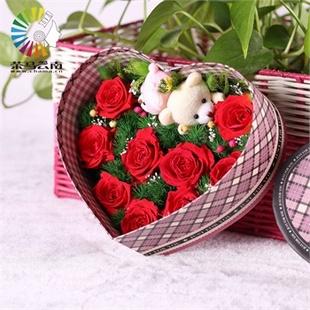 永生花 情人节礼品 9朵玫瑰花 方形玫瑰花礼盒 干花永不凋谢
