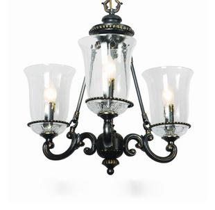 欧雅 美式灯具 3头铜本玻璃吊灯 客厅 餐厅 灯具灯饰图片