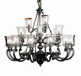 欧雅 美式灯具 21头铜本玻璃吊灯 客厅 餐厅 灯具灯饰图片