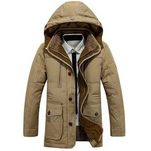 男装外套欹o#_2014冬装新款正品白鸭绒加厚连帽中长款男士羽绒服男装外套l8105