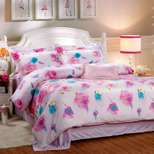 梦丽莎家纺床上用品田园上衣斜纹印花活性床单四夏装件套款情迷韩版新款纯棉床单图片