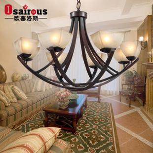 欧塞洛斯 美式吊灯复古灯饰灯具 d03/8 8头餐客厅灯图片