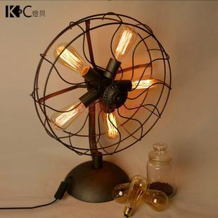 【kc台灯】美式复古工业风铁艺台灯个性loft电风扇酒吧吧台灯创意 hz图片