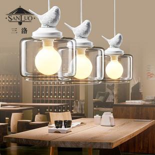 三洛 复古餐厅宜家创意酒吧台北欧美式乡村田园 个性艺术小鸟吊灯图片