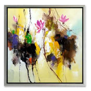 山迪 中式客厅手绘油画装饰画玄关卧室餐厅挂画壁画 荷花07 画框75x75图片