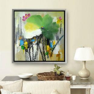 山迪 中式客厅手绘油画装饰画玄关卧室餐厅挂画壁画 荷花77 画框75x75图片