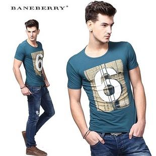 baneberry 帛利 夏裝 復古做舊裂紋阿拉伯數字6印花棉質圓領百搭男士圖片