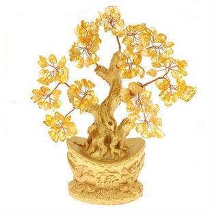 黄水晶元宝底座发财树 摆件 聚宝盆招财树 摇钱树