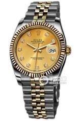 劳力士日志型系列116233 香槟色镶钻腕表